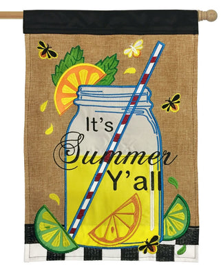 Burlap Summer Mason Jar Double Applique House Flag