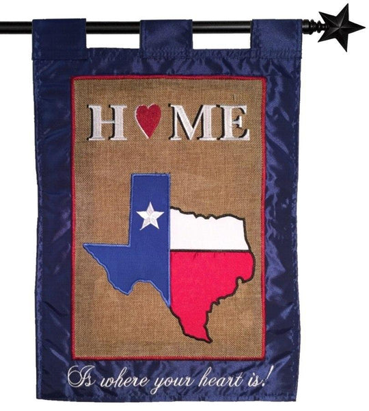 Burlap Texas Home Double Applique House Flag