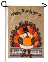 Burlap Thankful and Blessed Decorative Garden Flag
