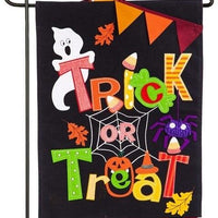 Burlap Trick or Treat Pennants Decorative Garden Flag