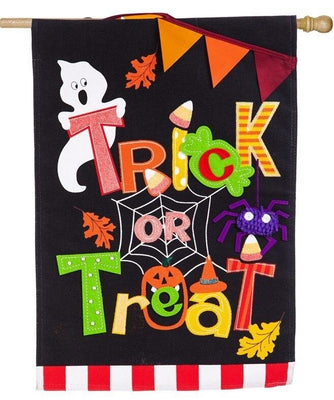 Burlap Trick or Treat Pennants Decorative House Flag