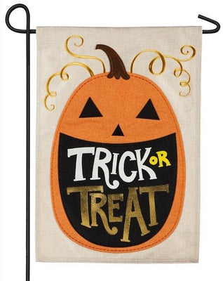 Burlap Trick or Treat Pumpkin Decorative Garden Flag