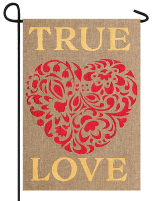 Burlap True Love Garden Flag