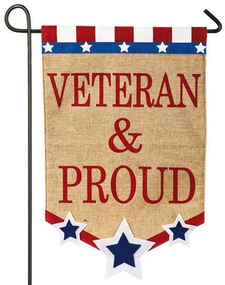 Burlap Veteran and Proud Decorative Garden Flag