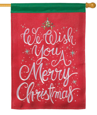 Burlap We Wish You A Merry Christmas Double Applique House Flag