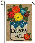 Burlap Welcome Fall Floral Mason Jar Decorative Garden Flag