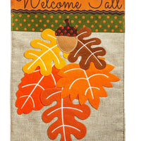 Burlap Welcome Fall Leaves Decorative House Flag
