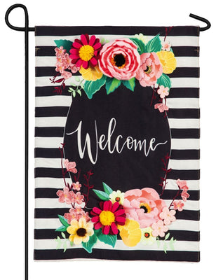 Burlap Welcome Floral Swag Decorative Garden Flag