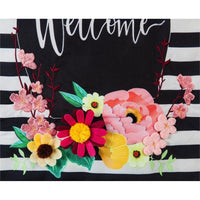 Burlap Welcome Floral Swag Decorative House Flag Detail 2