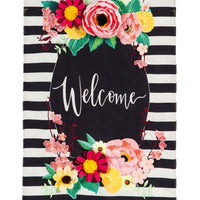 Burlap Welcome Floral Swag Decorative House Flag