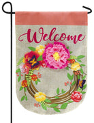 Burlap Welcome Floral Wreath Decorative Garden Flag