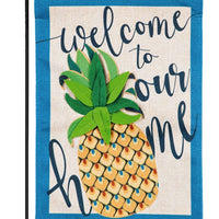 Burlap Welcome Pineapple Decorative Garden Flag