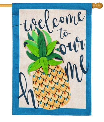 Burlap Welcome Pineapple Decorative House Flag