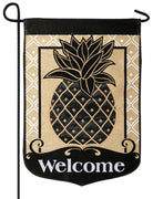 Burlap Welcome Pineapple Double Applique Garden Flag