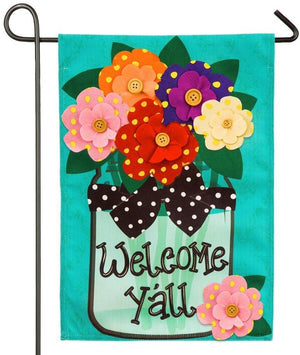 Burlap Welcome Y'all Floral Mason Jar Decorative Garden Flag