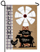Burlap Windmill and Farm Animals Double Applique Garden Flag