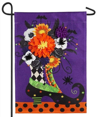 Burlap Witch Boot Floral Decorative Garden Flag