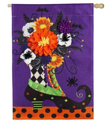 Burlap Witch Boot Floral Decorative House Flag