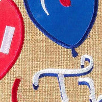 Burlap the Party is Here Decorative House Flag Detail