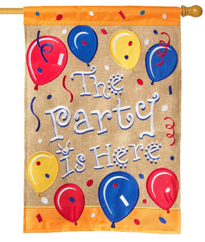 Burlap the Party is Here Decorative House Flag