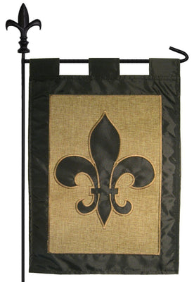 Burlap Black Fleur de Lis Double Applique Garden Flag