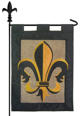Burlap Black and Gold Fleur de Lis Garden Flag