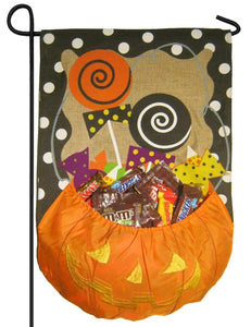 Burlap Halloween Candy Treat Decorative Garden Flag