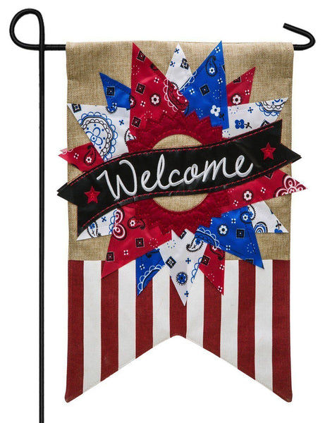 Burlap Patriotic Bandana Wreath Decorative Garden Flag - I AmEricas Flags