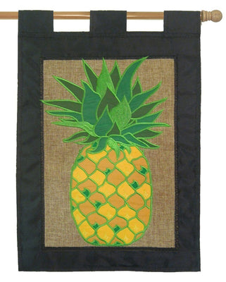 Burlap Pineapple Double Applique House Flag