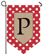 Burlap Polka Dot Monogram P 2 Sided Garden Flag