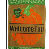 Burlap Welcome Fall Pumpkin Fleur de Lis Double Applique Garden Flag