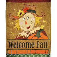 Burlap Welcome Fall Scarecrow Double Applique House Flag
