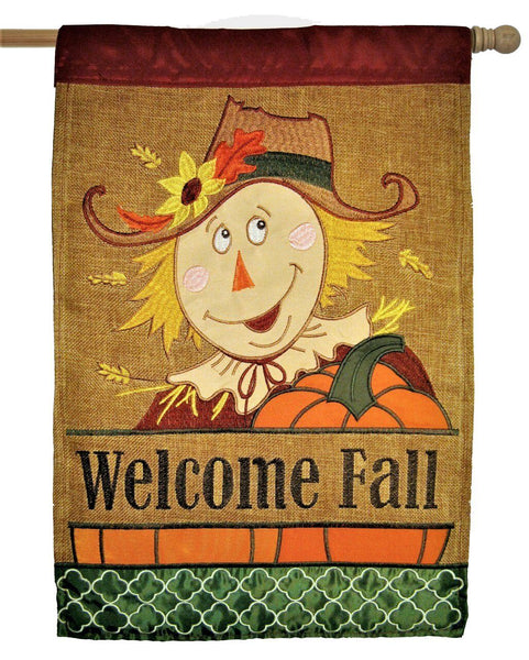 Burlap Welcome Fall Scarecrow Double Applique House Flag - All Decorative Flags/Seasons/Fall Flags - I AmEricas Flags