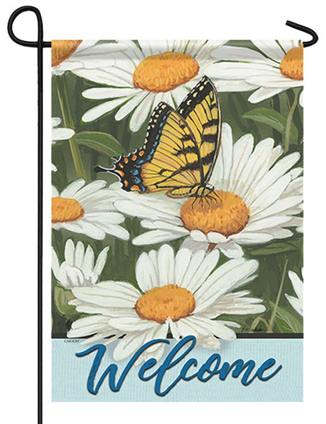 Butterfly and Daisies Welcome Garden Flag