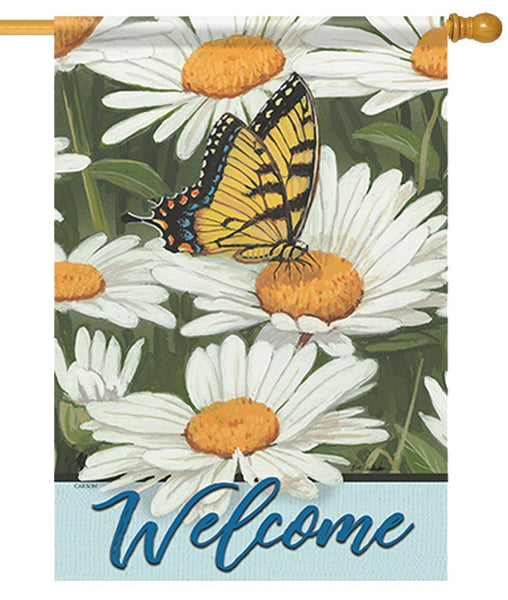 Butterfly and Daisies Welcome House Flag