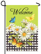 Butterflies Daisies and Gingham Garden Flag