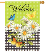 Butterflies Daisies and Gingham House Flag