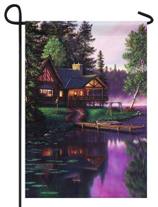 Cabin on the River Suede Reflections Garden Flag