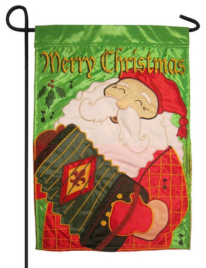 Cajun Santa Double Applique Garden Flag