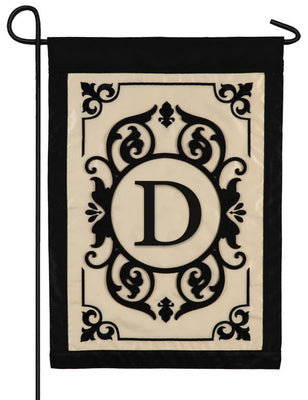 Cambridge Letter D Applique Monogram Garden Flag