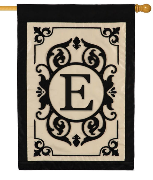 Cambridge Letter E Applique Monogram House Flag