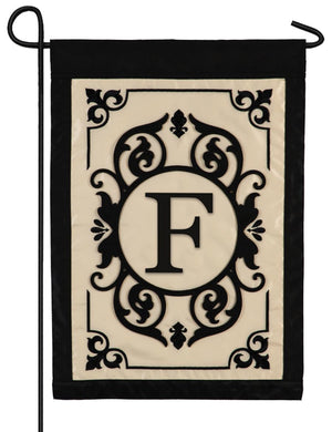 Cambridge Letter F Applique Monogram Garden Flag