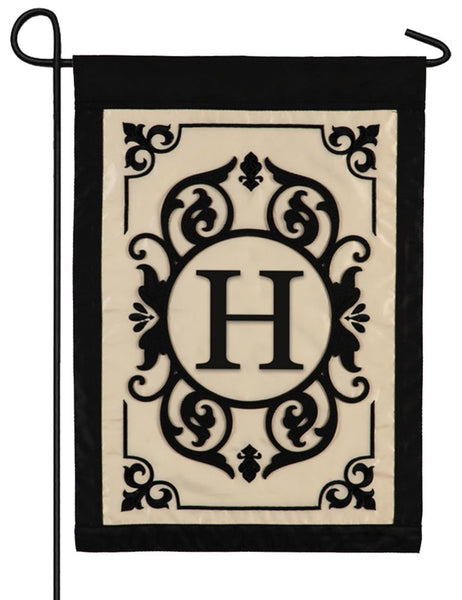 Cambridge Letter H Applique Monogram Garden Flag
