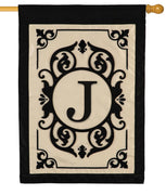 Cambridge Letter J Applique Monogram House Flag