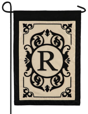 Cambridge Letter R Applique Monogram Garden Flag