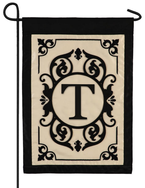 Cambridge Letter T Applique Monogram Garden Flag