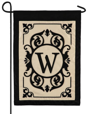 Cambridge Letter W Applique Monogram Garden Flag