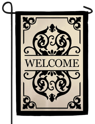 Cambridge Welcome Applique Garden Flag