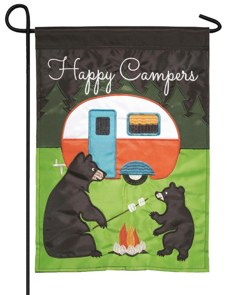 Camping Bears Double Applique Garden Flag