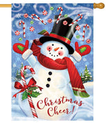 Candy Cane Snowman House Flag